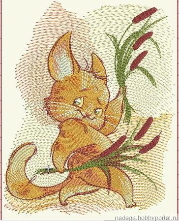 """Дизайн для вышивания """"Кот с камышами"""" ручной работы на заказ"""