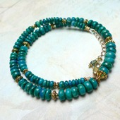 Ожерелье с натуральной Хризоколлой (колье / бусы хризоколла)