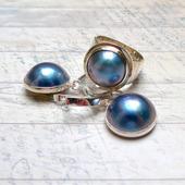 Комплект с перламутром, кольцо и серьги