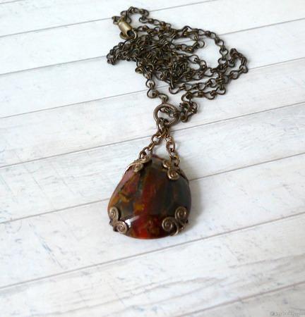 Кулон с Петерситом (натуральный петерсит, латунь), с цепочкой ручной работы на заказ