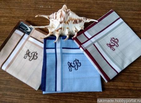 Мужской носовой платок с монограммой АВ ручной работы на заказ