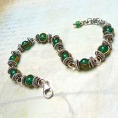 Браслет с зелёным Ониксом (серебро 925 пробы, латунь, зелёный оникс)