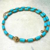 Ожерелье (чокер) с натуральной голубой Бирюзой (бусы из бирюзы)