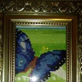 """Картина вышитая крестом """"Бабочка синяя"""""""