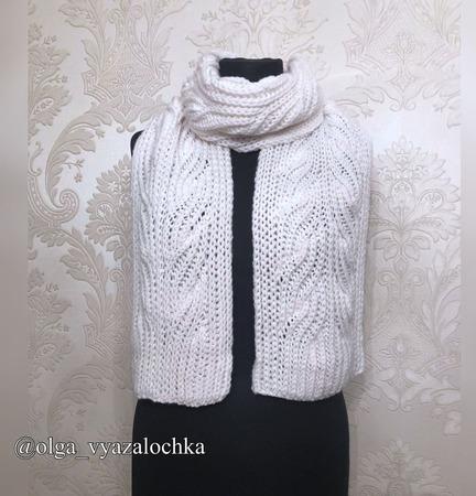 Вязаный шарф «Метель» из полушерсти ручной работы на заказ