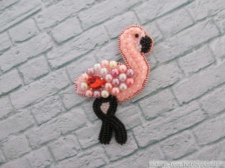 """Брошь """"Розовый фламинго"""" ручной работы на заказ"""