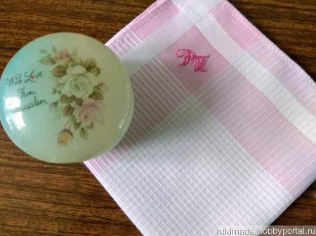 Женский носовой платочек с монограммой ручной работы на заказ