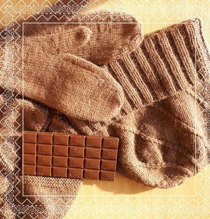 """Комплект осенне-зимний """"Молочный шоколад """" ручной работы на заказ"""