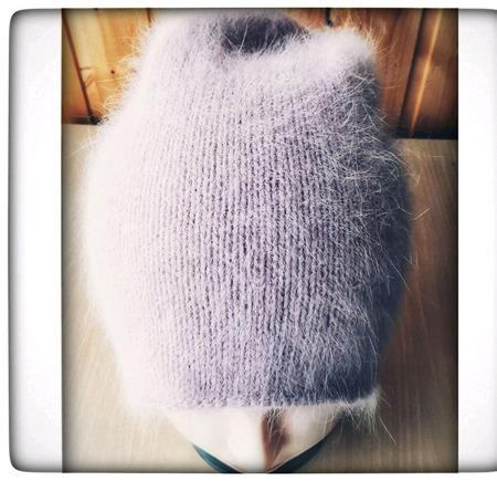 Шапочка бини из пуха ангорского кролика ручной работы на заказ