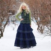 Джинсовая юбка в стиле бохо на осень-зиму
