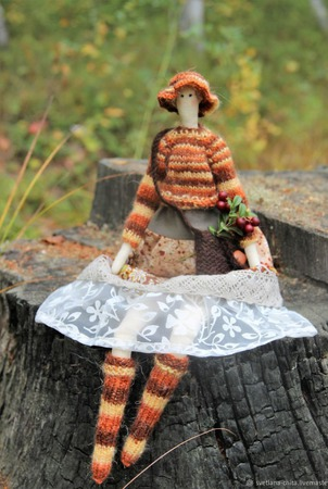 Кукла-тильда Сентябрина ручной работы на заказ