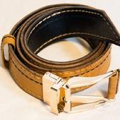 Ремень кожаный двухсторонний поворотный ручной работы