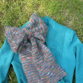 Вязаный шарф из мохера полоски