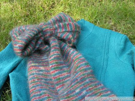 Вязаный шарф из мохера полоски ручной работы на заказ