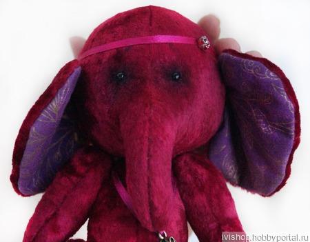 """Тедди слоник """"Малинка"""" + подарок текстильное сердце ручной работы на заказ"""