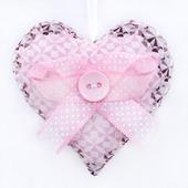 """Интерьерная подвеска """"Текстильное сердце розовое"""""""