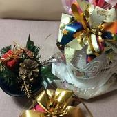 Подарочные новогодние банты тройные