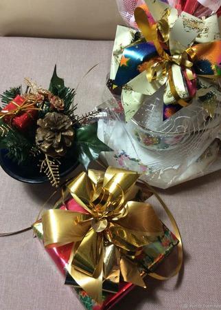 Подарочные новогодние банты тройные ручной работы на заказ