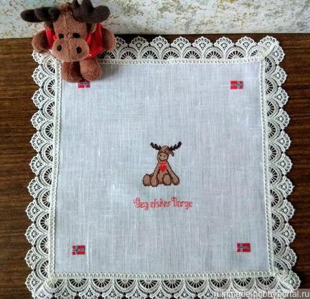 """Декоративная  салфетка с ручной вышивкой """"Норвегия"""" ручной работы на заказ"""