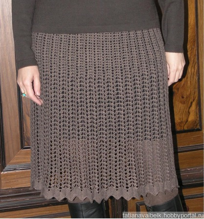 "Вязаная коричневая юбка ажурная ""Вафелька"" ручной работы на заказ"