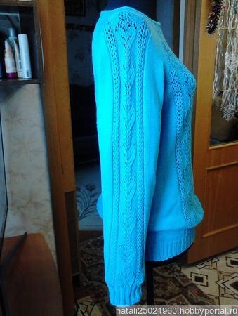"""Пуловер """"Голубые подснежники"""" ручной работы на заказ"""