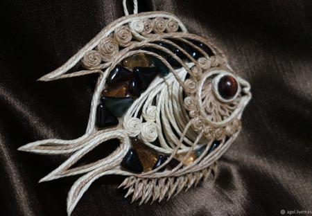 """Рыбка """"Морская"""", рыба из джута для Екатерины ручной работы на заказ"""