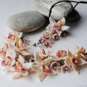 """Браслет и кулон """"Нежные орхидеи"""""""
