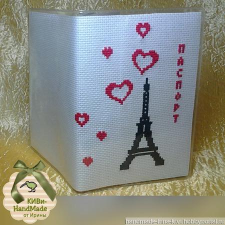 "Обложка на паспорт ""Сердце Парижа"" ручной работы на заказ"