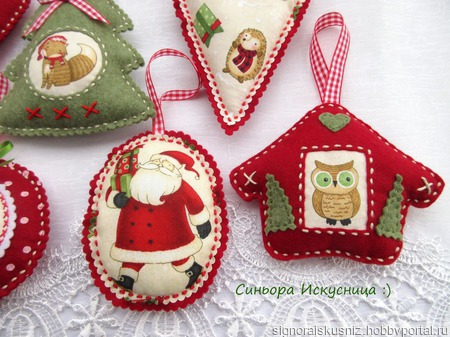 Набор елочных игрушек из фетра и ткани 7 шт ручной работы на заказ