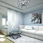 Картина и дизайн проект интерьера гостиной голубой серый