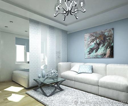 Картина и дизайн проект интерьера гостиной голубой серый ручной работы на заказ