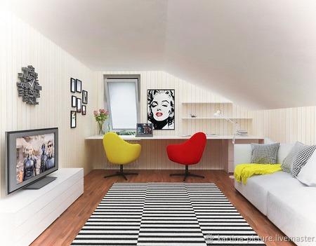 Картина портрет Мерилин Монро поп-арт черно-белый красный ручной работы на заказ