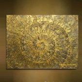 Картина абстракция Золотая спираль современный стиль контемпорари