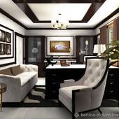Картина и дизайн проект интерьера гостиной черно- белый коричневый