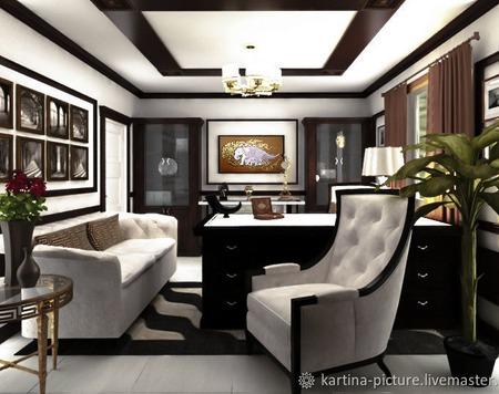 Картина и дизайн проект интерьера гостиной черно- белый коричневый ручной работы на заказ
