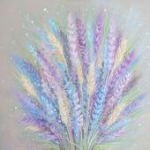 Картина Лаванда и пшеница в спальню полевые цветы серый сиреневый