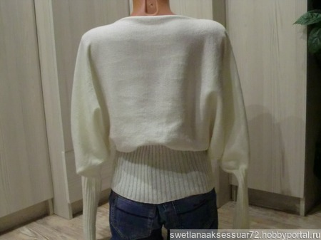 "Пуловер ""летучая мышь"" вязаный ручной работы на заказ"