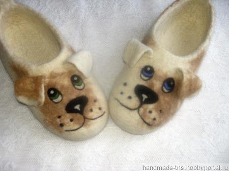 Тапочки войлочные Собачки ручной работы на заказ