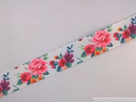 """Лента репсовая с рисунком  """"Розы"""" 22 мм ручной работы на заказ"""