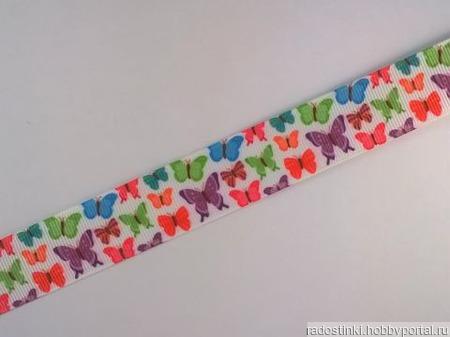 """Лента репсовая с рисунком  """"Бабочки"""" 22 мм ручной работы на заказ"""