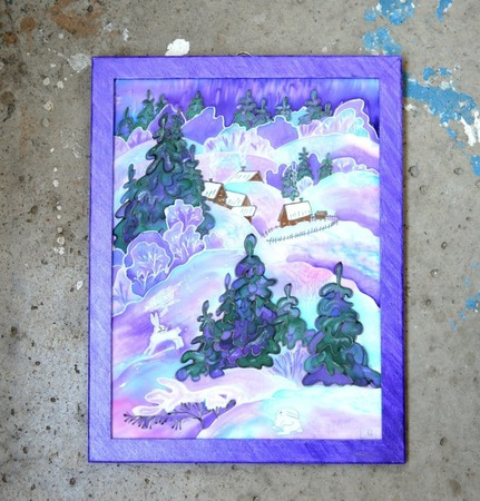 """Картина шелковое батик панно """"Заячьи тропы"""" натуральный шелк ручной работы на заказ"""