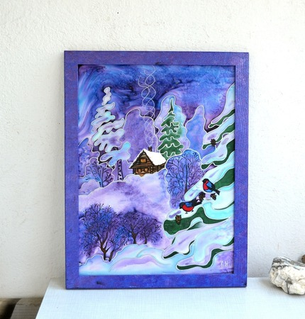 """Картина панно батик сине сиреневое """"Зимняя сказка"""" натуральный шелк ручной работы на заказ"""