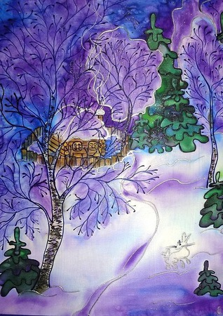 Картина панно батик Зимний вечер натуральный шелк, зимний пейзаж ручной работы на заказ