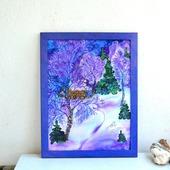 Картина панно батик Зимний вечер натуральный шелк, зимний пейзаж
