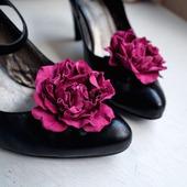 Клипсы для туфель натуральная кожа цвета фуксии