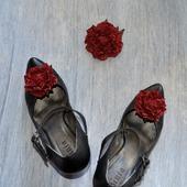 Розы из кожи Клипсы для туфель и брошь, натуральная кожа