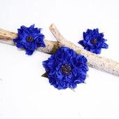 Брошь и клипсы для туфель синие цветы из натуральной  кожи