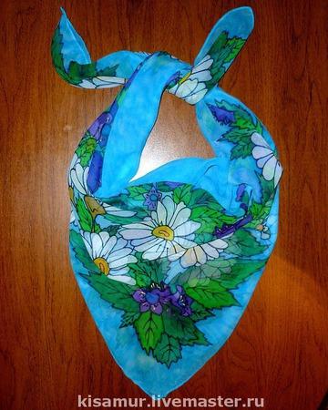 Шелковый платок батик натуральный шелк шифон, полупрозрачный цветочный ручной работы на заказ