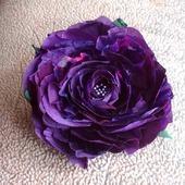 Брошь заколка Цветок Розы натуральный шелк, крупная брошь