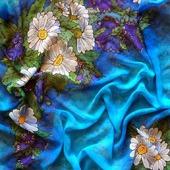 Платок батик голубой, тонкий с цветами натуральный шелковы